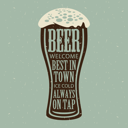 texture: Vector banner with overflowing beer glass and lettering on the beer theme on the gray paper background in a retro style. Illustration
