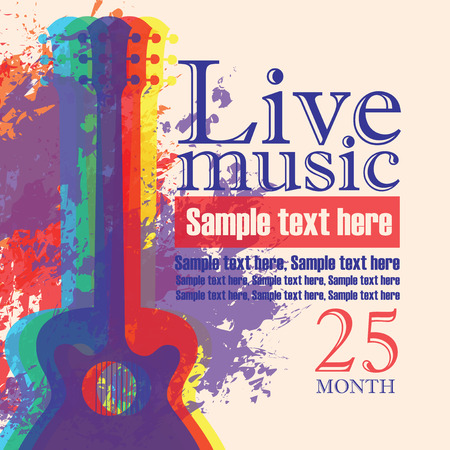 textured: Vector banner with multicolor acoustic guitar on abstract colored background, lettering live music and place for text in retro style