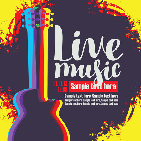 music: Vector banner with multicolor acoustic guitar on abstract colored background, inscription live music and place for text in retro style Illustration
