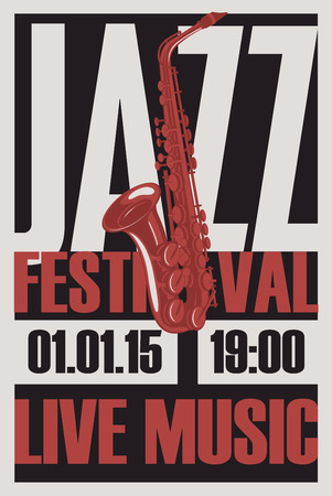 Vector poster for a jazz festival live music with a saxophone and place for text in retro style