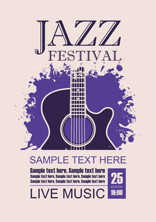 Vector banner with acoustic guitar on grunge violet background, lettering jazz festival live music and place for text in retro style