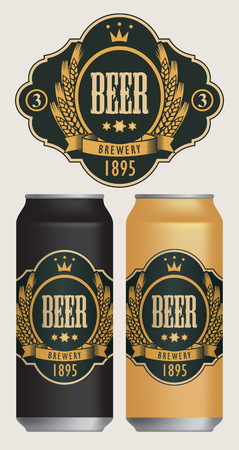 Vector beer label with coat of arms, wreath of wheat and ribbon in curly frame on black background in retro style. Two templates labels for beer on beer cans.