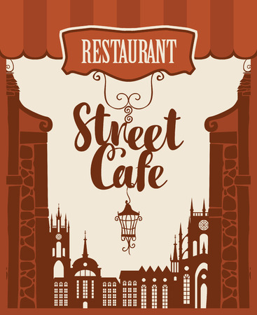 baroque: Vector banner for street cafe with inscription and lantern on the background of houses in the old town
