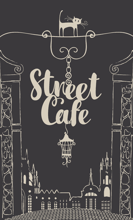 silueta de gato: Vector banner for street cafe with street sign on the dark background of old city landscape in retro style