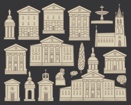 baroque: Set of vector drawings of old houses and churches in European cities on black background Illustration