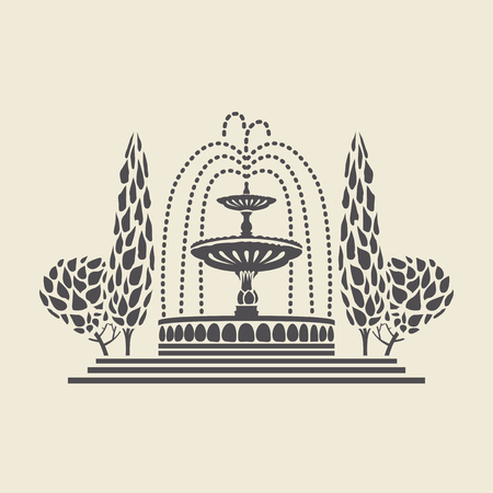 classicism: Icon of a stylized vintage Park fountain with steps and trees. Flat vector isolated silhouette.