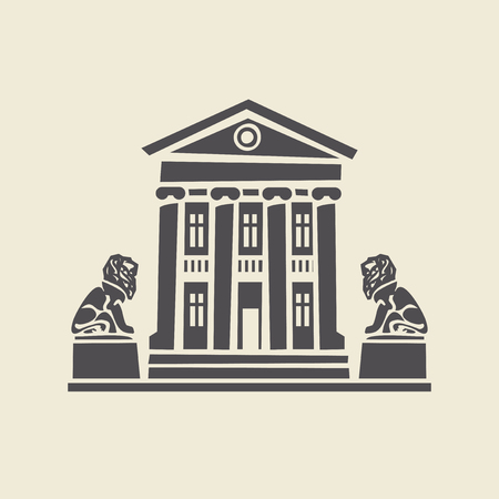 classicism: Icon of a stylized two-storey old building with columns and two sculptures of lions. Flat vector isolated silhouette.