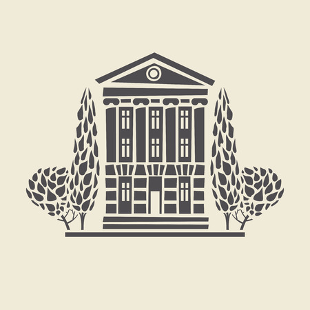 Icon of a stylized two-storey old building with columns and trees. Flat vector isolated silhouette. Illustration