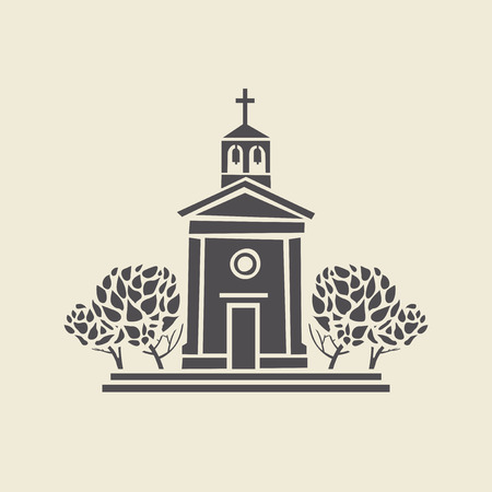 classicism: Icon of a stylized bell tower with trees. Flat vector isolated silhouette.