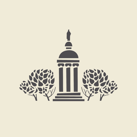 classicism: Icon of a stylized old parks gazebo with columns. Flat vector isolated silhouette. Illustration