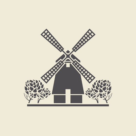 classicism: Icon of a stylized windmill with trees. Flat vector isolated silhouette. Illustration