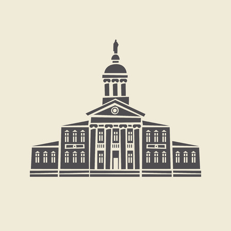 Icon of a stylized old administrative building with columns. Flat vector isolated silhouette.