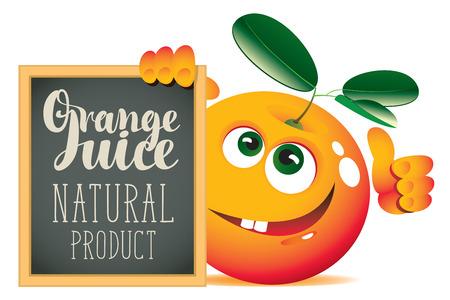 Vector banner for fresh juice with funny orange and blackboard with inscription Orange juice Illustration