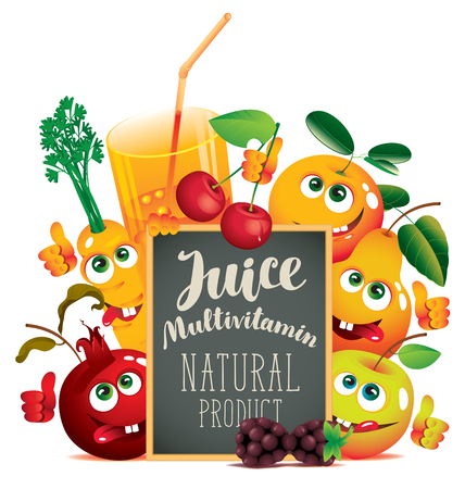 Vector banner for fresh juice with different funny fruits and blackboard with inscription Multivitamin juice Illustration