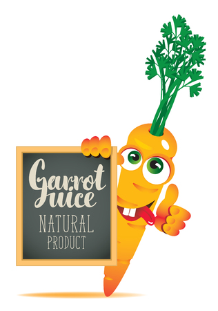 Vector banner for fresh juice with funny carrot and blackboard with inscription Carrot juice