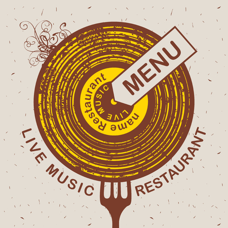 curlicues: Vector banner for restaurant menu with live music patterned vinyl and fork on the cardboard background in retro style