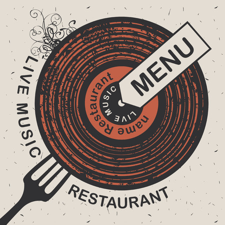 bar: Vector banner for restaurant menu with live music patterned vinyl and fork on the cardboard background in retro style