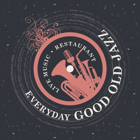 Vector banner for restaurant with live music with wind instruments and vinyl record on the black cardboard background in retro style