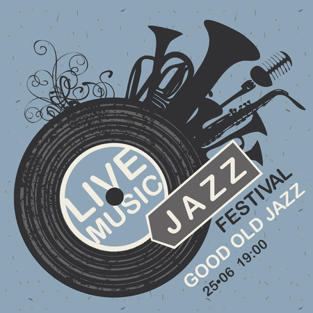 Vector banner for jazz festival live music with wind instruments, vinyl record and microphone on the blue cardboard background in retro style