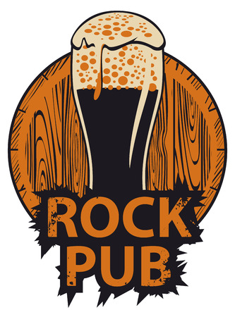 Vector banner for the pub with live music. Illustration with a wooden keg, beer glass and words rock pub in retro style Illustration