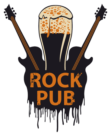 Vector banner for the pub with live music. Illustration with a beer glass, guitars and words rock pub in retro style