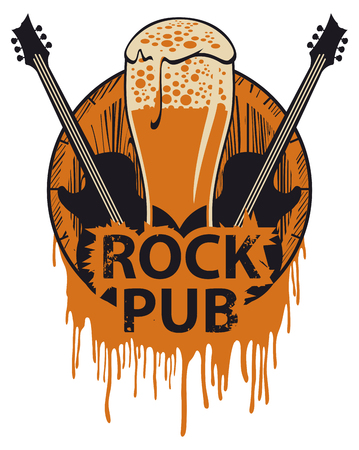 Vector banner for the pub with live music. Illustration with a wooden keg, beer glass, guitars and words rock pub in retro style