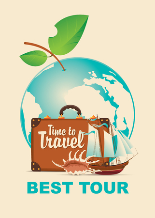 destination: Vector illustration with a suitcase, sailboat and seashell on a tourist theme against the backdrop of the planet Earth in the form of an Apple with leaves. Banner with the inscription Time to travel