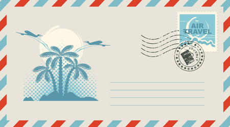 cloud: Postal envelope with stamp and rubber stamp. Illustration on the theme of travel with an island with palm trees and airplanes