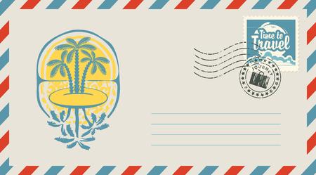 Postumschlag mit Stempel und Stempel. Illustration auf dem Thema der Reise mit der Landschaft der Inseln, der Palmen und des Sonnenuntergangs und der kalligraphischen Aufschrift Zeit zu reisen