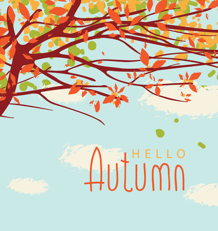 Vector banner with the words Hello autumn. Autumn landscape with autumn leaves on the branches of trees in a Park or forest on a background of blue sky with clouds
