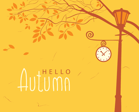 Vector banner with inscription hello autumn. Autumn landscape with trees in the park and Clock on the lamp post Illustration