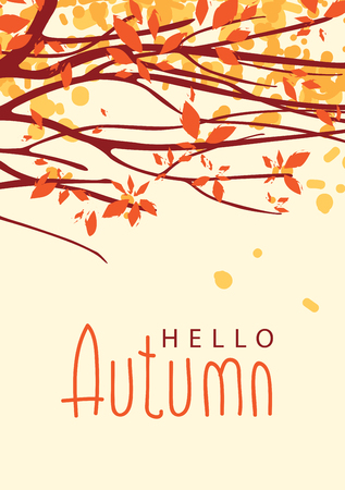 silent: Vector banner with the words Hello autumn. Autumn landscape with autumn leaves on the branches of trees in a Park or forest