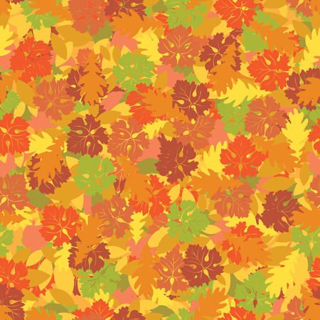 gold textured background: Seamless background with colorful autumn leaves. Vector background on autumn theme