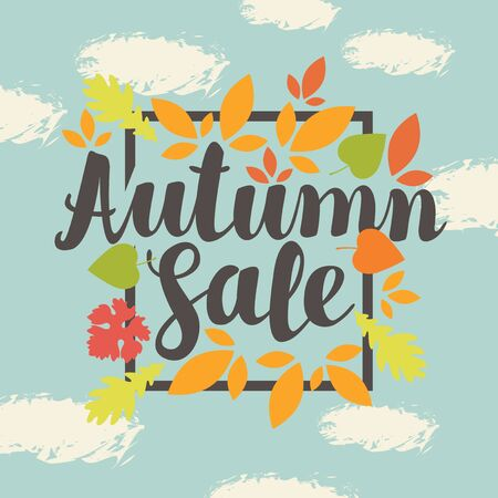 Vector banner with the inscription Autumn sale. Can be used for flyers, banners or posters. Vector illustration with colorful autumn leaves on the blue sky background with clouds Illustration