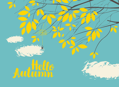 silent: Vector banner with the words Hello autumn. Autumn landscape with autumn leaves on the branches of trees in a Park or forest on a background of blue sky with clouds