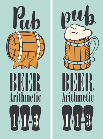 Vector banner for beer pub in a retro style with wooden barrel, mug and text. Special offer arithmetic beer or three for the price of two