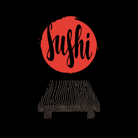 big: Vector banner with calligraphic inscription Sushi, wooden tray and big red sun on the black background