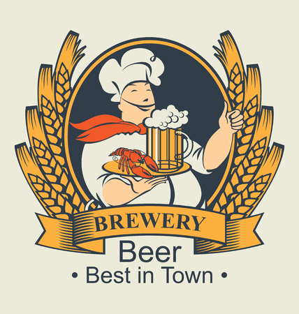 Vector banner for the brewery with the words best beer in town. The coat of arms with ears of wheat and chef with a glass of beer and crayfish on the tray