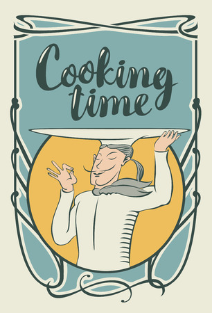 Vector banner for restaurant menu with the inscription Cooking time and a chef with a tray on his head