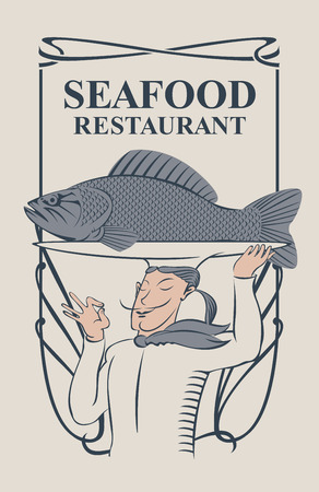 curlicues: Vector menu for seafood restaurant with the smiling chef with the fish on the tray, and a tray on his head in retro style