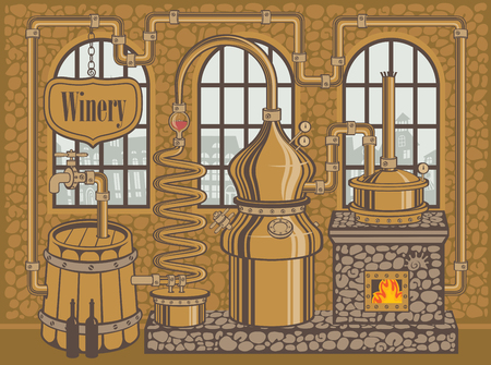 Traditional winery plant for the production of wine Illustration