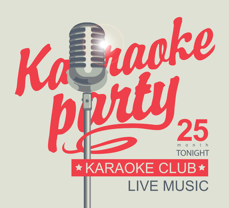 Vector banner for karaoke club with a microphone and calligraphic inscription karaoke party