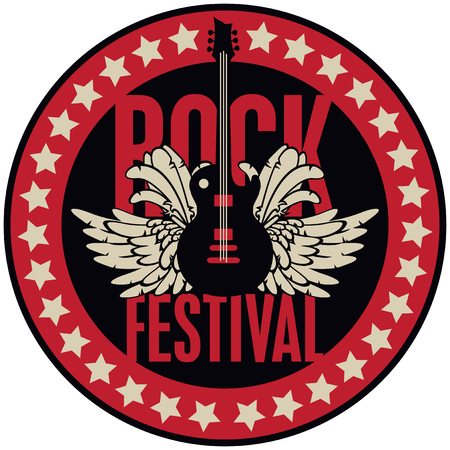 Vector round emblem for Rock Festival with an electric guitar, feathers, wings and stars Illustration