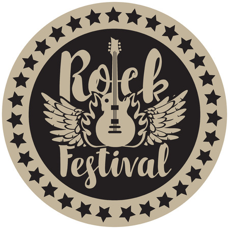 traditional culture: Round emblem for Rock Festival with an electric guitar, wings and fire Illustration