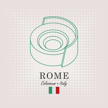 Vector schematic drawing of the coliseum in Rome with the inscription and the italian flag on abstract background