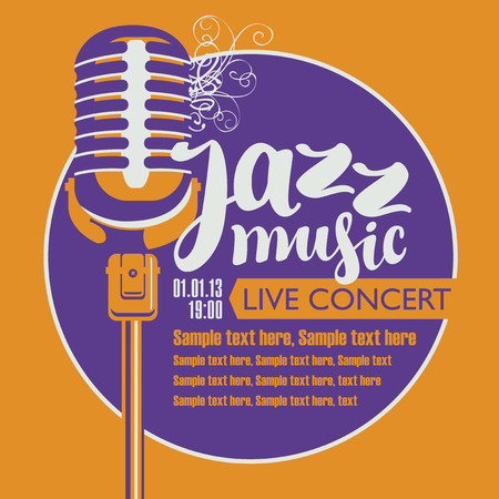 Vector poster for live concert with a microphone, the inscription jazz music and place for text in retro style