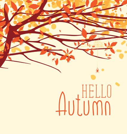 Vectorbanner met de woorden Hello-herfst. Herfst landschap met herfstbladeren op de takken van bomen in een park of bos.