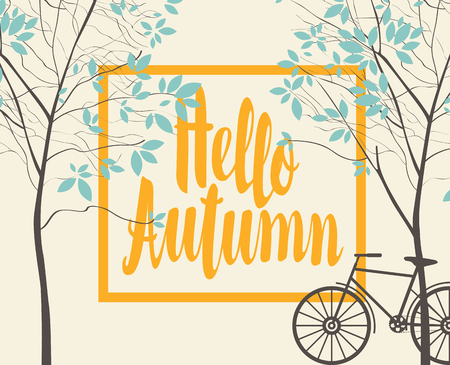 Vector landscape in retro style on the autumn theme with the inscription Hello autumn, trees and bike. Illustration