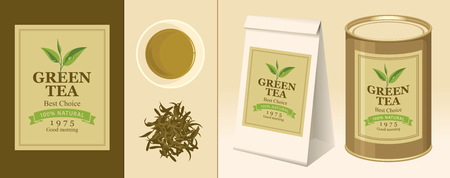 black: Vector banner and label for green tea with the image of a tea leaf on the twig and the inscription. Tea Cup, pinch of welding, 3D paper pack and a tin can of tea with this label Illustration