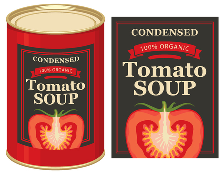 pasteurized: Vector illustrations set of tin cans with the label and labels for the condensed tomato soup with the image of a cut tomato